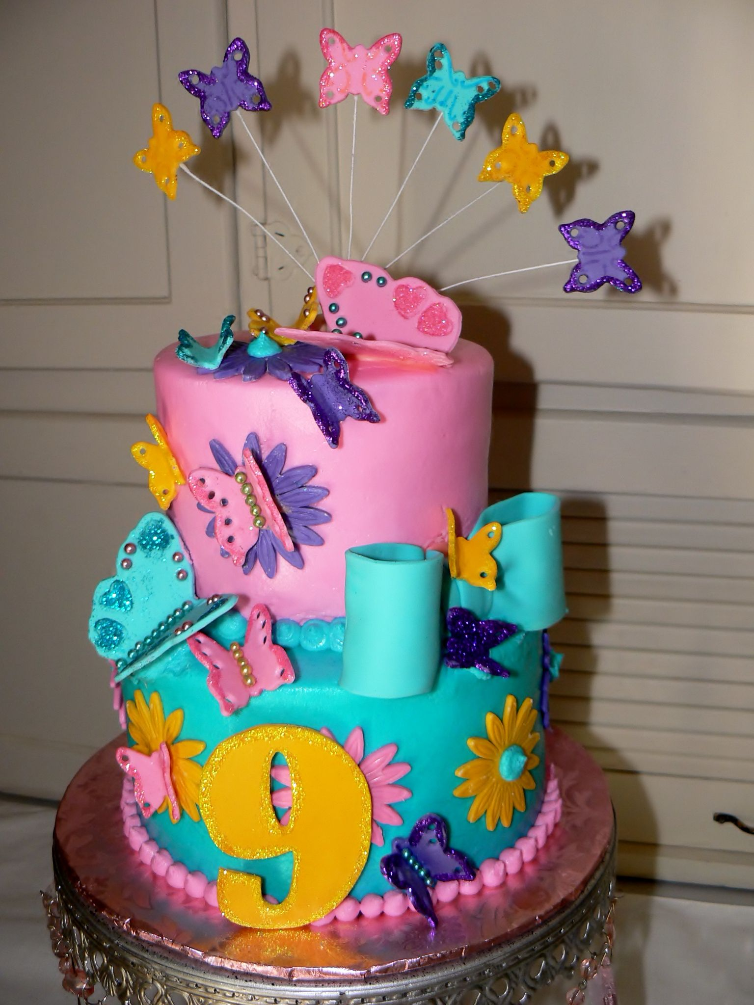 Julie S 9th Birthday Cake With Fondant Butterflies Flowers And