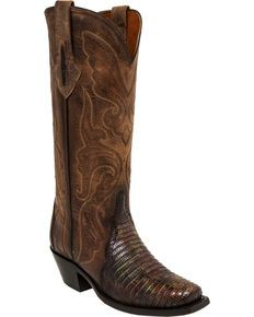 41bee3ed639 Lucchese Brown/Green Sasha Lizard Cowgirl Boots - Narrow Square Toe ...