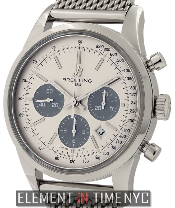 #Breitling Transocean Chronograph 43mm iN Stainless Steel With A Silver Dial (ab015212g724-ss)
