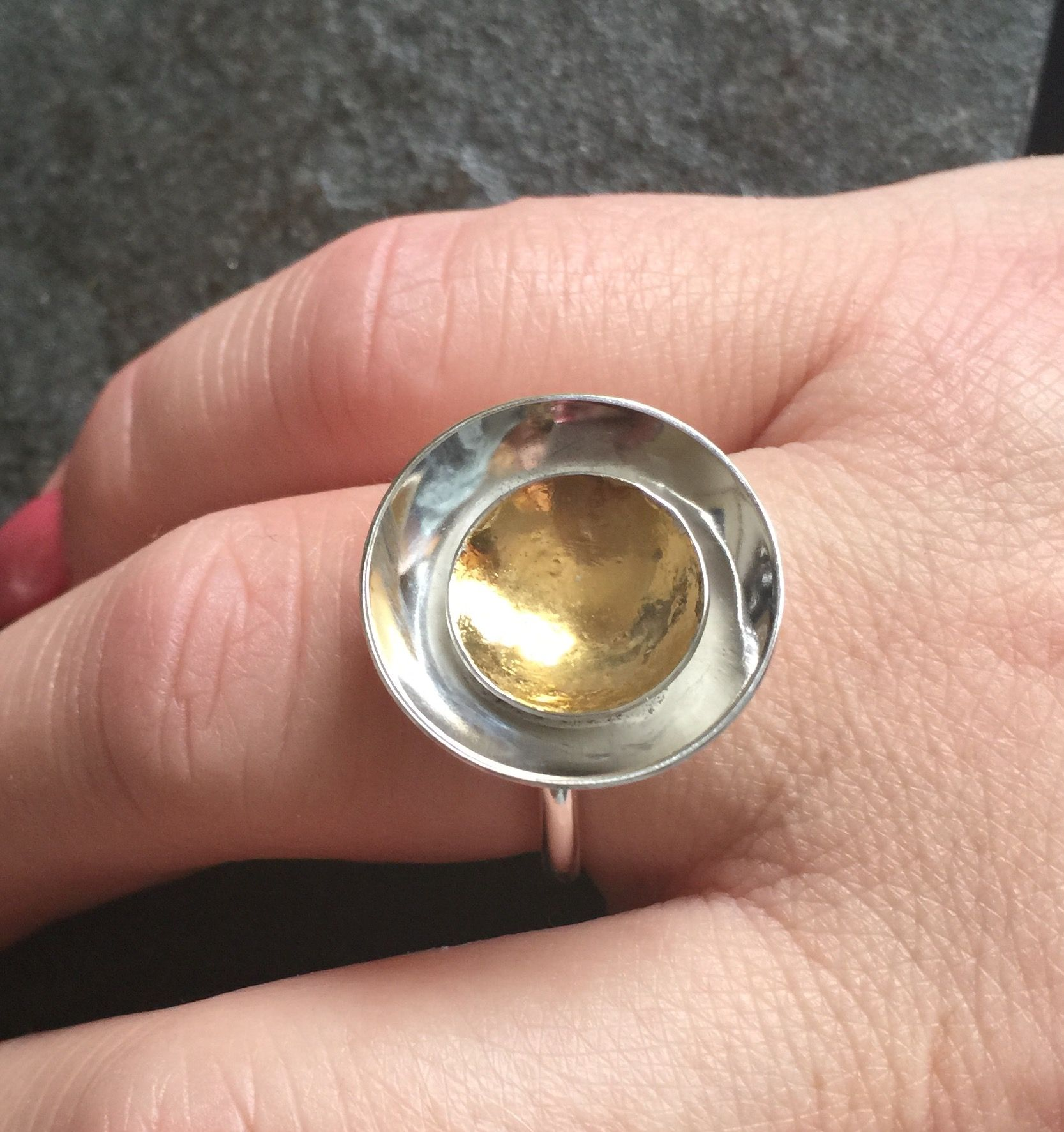 Sterling silver and Keum Boo cup ring