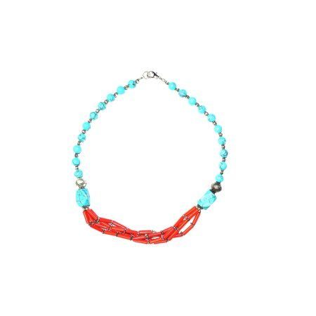 Bohemian Jewelry Beads Necklace Coral Turquoise Stones Handmade Necklaces