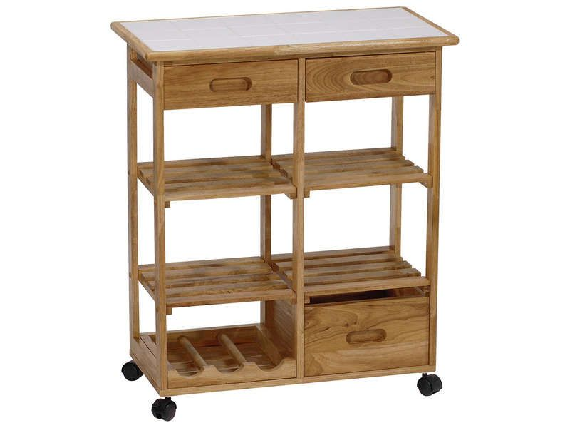 Desserte terra coloris bois clair vente de meuble micro - Castorama meuble de rangement ...