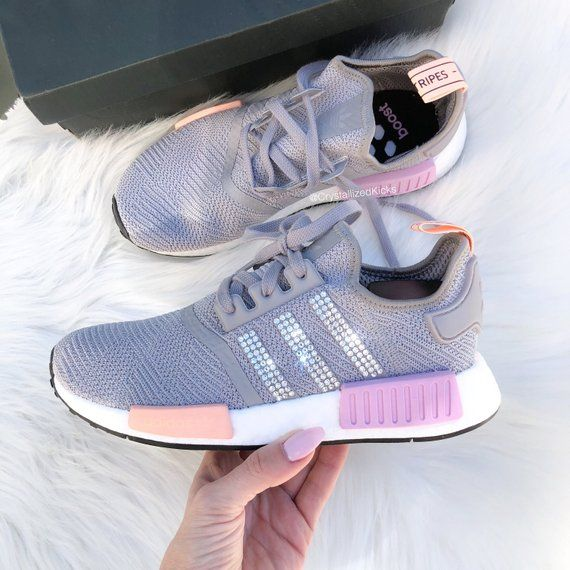 94d2469b21e Swarovski Adidas NMD R1 Runner Women Made with SWAROVSKI® Xirius Rose  Crystals - Grey Pink White