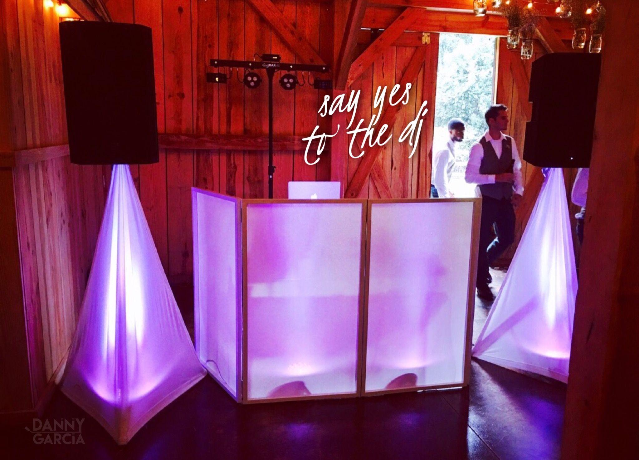 Dj Booth Setup For A Barn Wedding Www Djdannygarcia Com Wedding Dj Setup Wedding Dj Booth Dj Setup