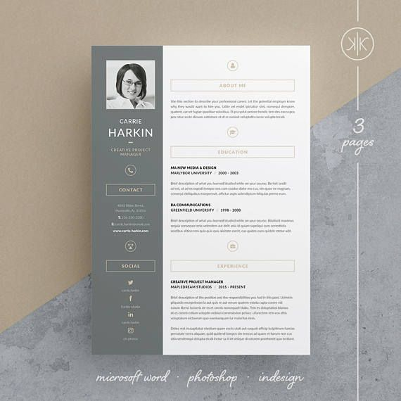 Carrie ResumeCv Template  Word  Photoshop  Indesign