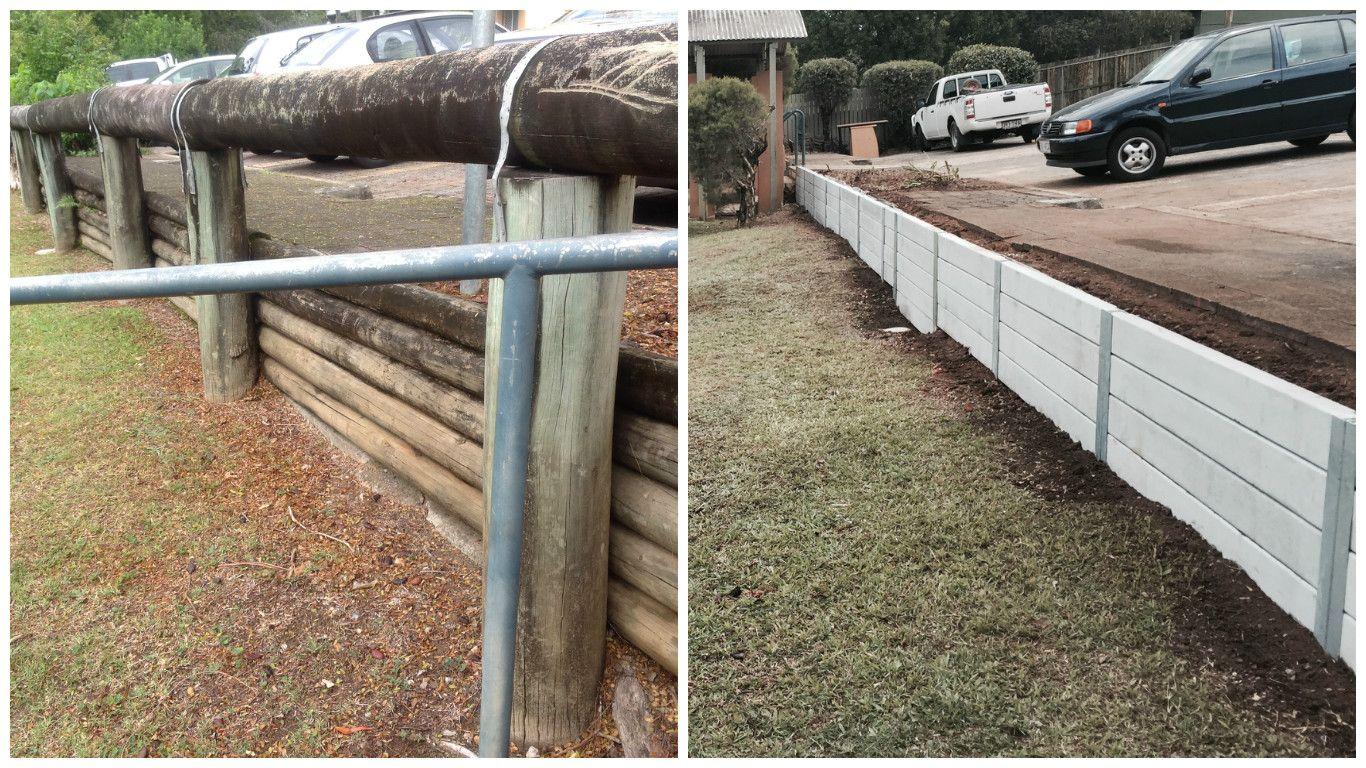 Ridgi Smooth Grey Concrete Sleeper Retaining Wall For