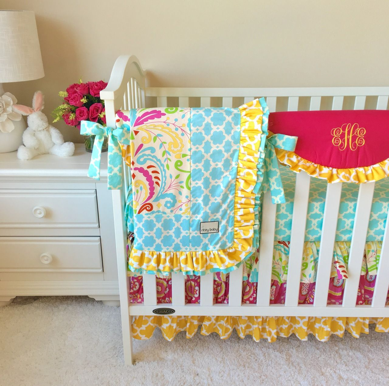 Gocrib adventure crib for sale - Sujata Mint Yellow And Pink Bumperless Crib Bedding