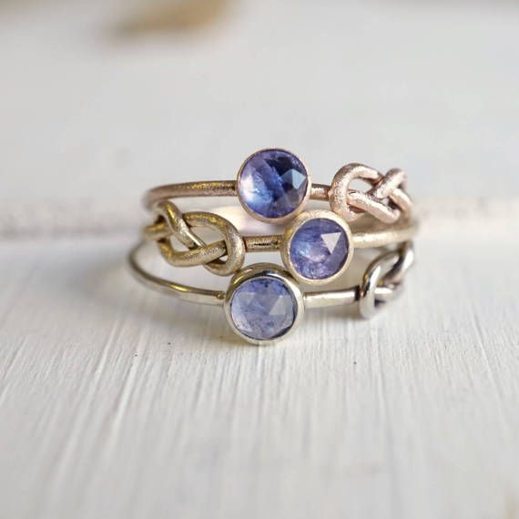 Tanzanite Gold Ring, Infinity Knot Ring, Delicate Gemstone Ring, Knot Ring, Rose Gold Ring, Yellow Gold Ring, Love Knot Ring, Skinny Ring