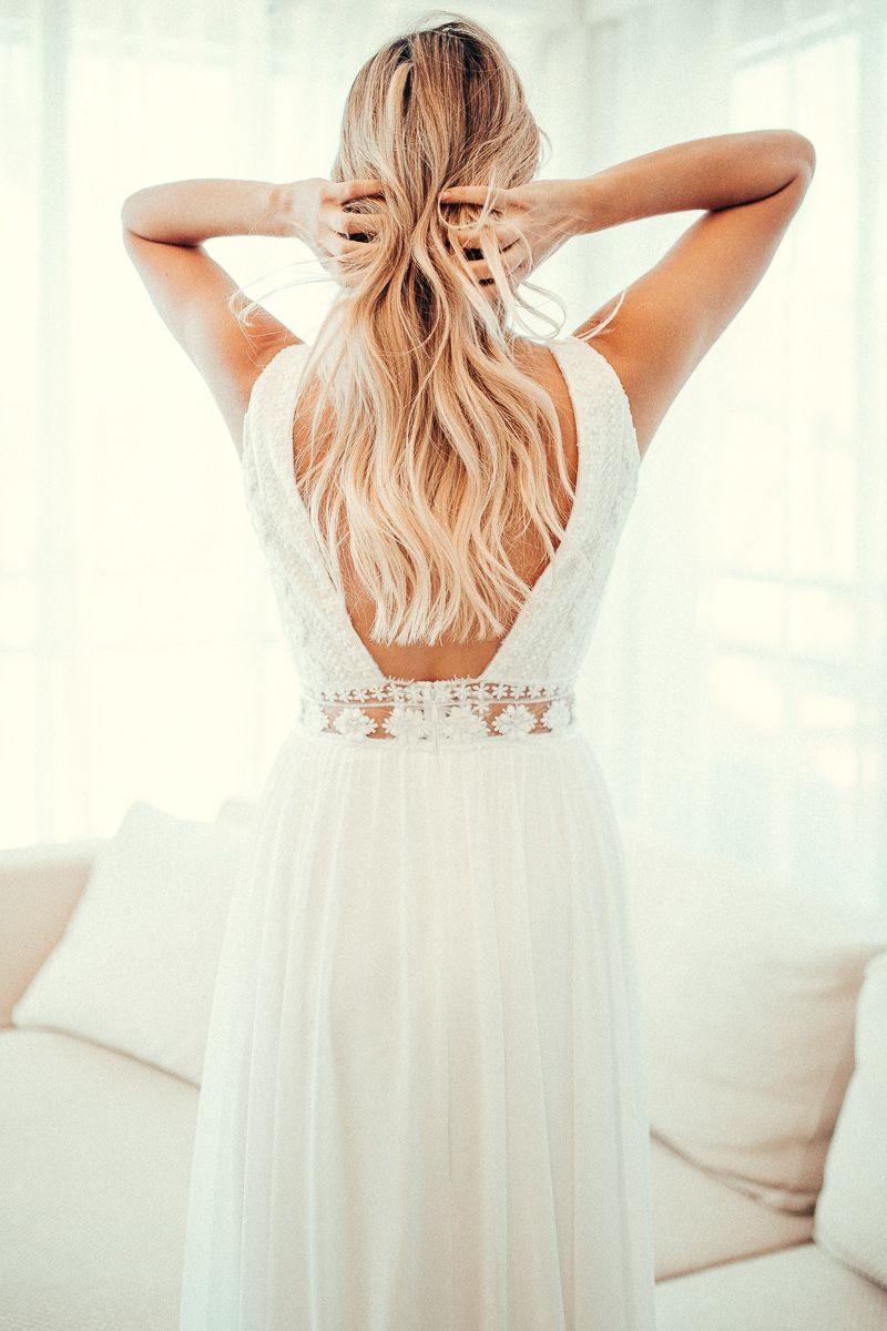 Wedding dress boho wedding dress v neckline geometric lace beach