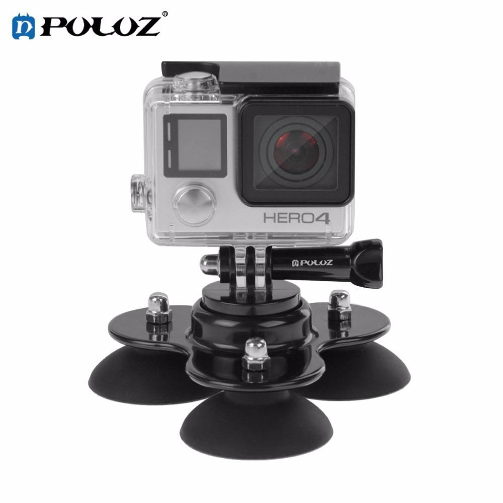 Puluz Pu164b Camera Triangle Suction Cup Mount Tripod W H Screw For Gopro Hero5 Hero4 Session Hero5 4 3 3 2sjcam Sj4000 Gopro Photography Camera Photography Accessories