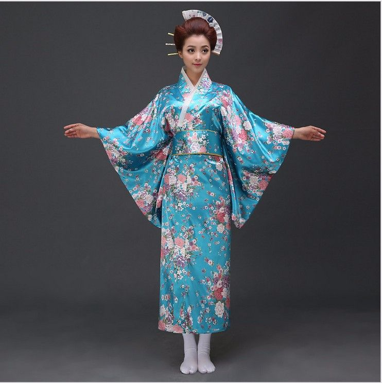 Sale Blue Japanese Satin Yukata With Obi Sexy Women s NEW Fashion Kimono  Haori Novelty Vintage Party Prom Dress Floral One Size  Affiliate 1e5460355624