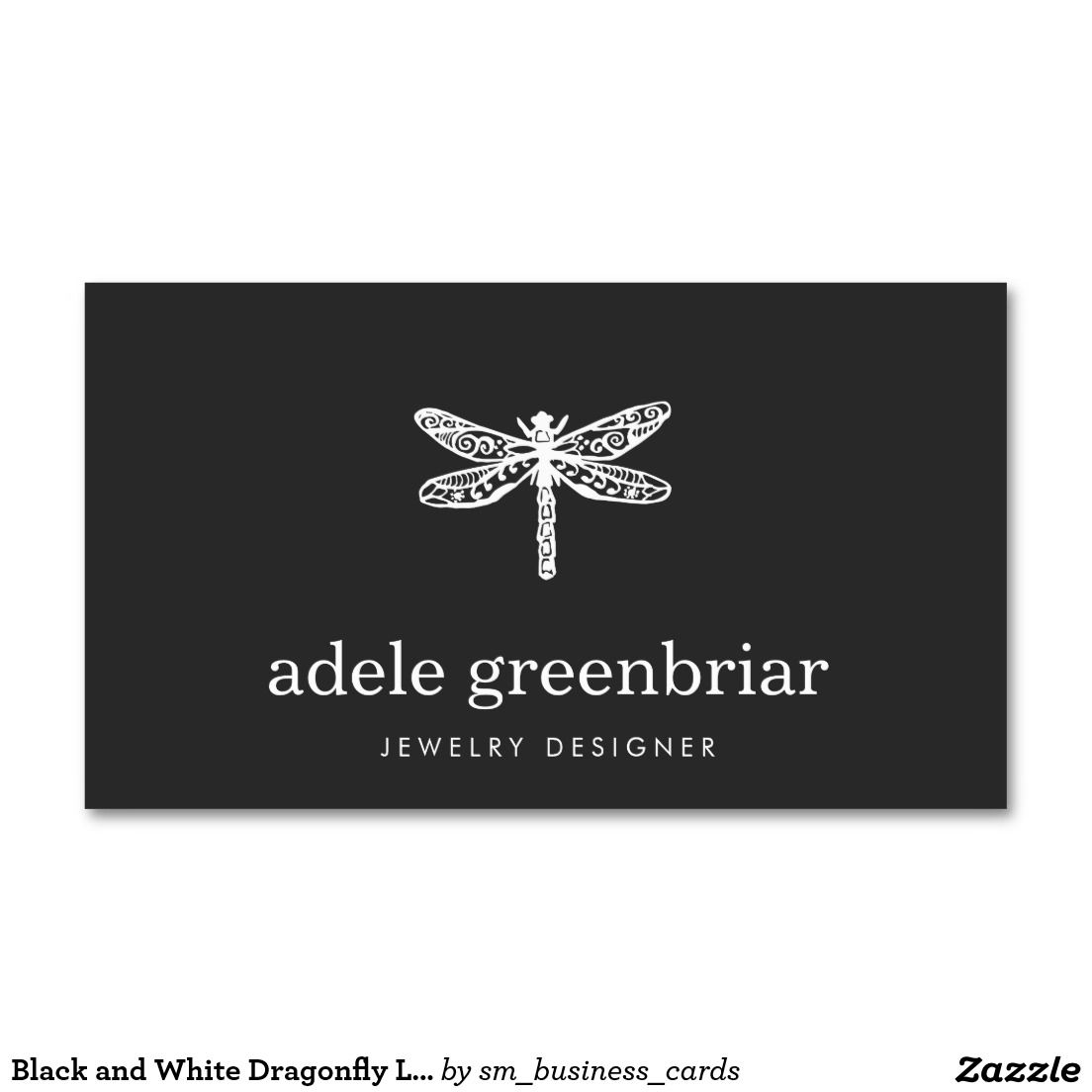 Black and White Dragonfly Logo Double-Sided Standard Business Cards ...