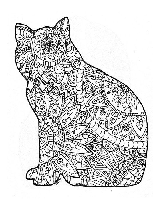 Chillin' Cat Coloring Page, Zentangle, Animal Wall Art