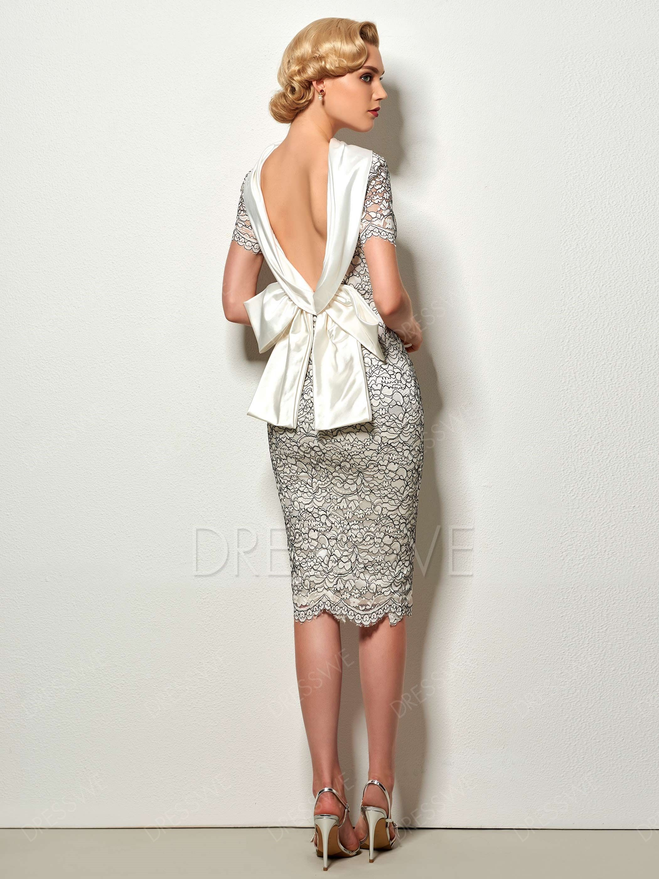 0ac0520f4a8 Dresswe.com SUPPLIES Vintage Sheath Short Sleeve Deep Back Knee Length  Cocktail Dress Cocktail Dresses 2017 (2)