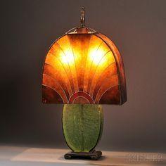 Art Deco Table Lamp Mica Glass Metal Enamel Probably France
