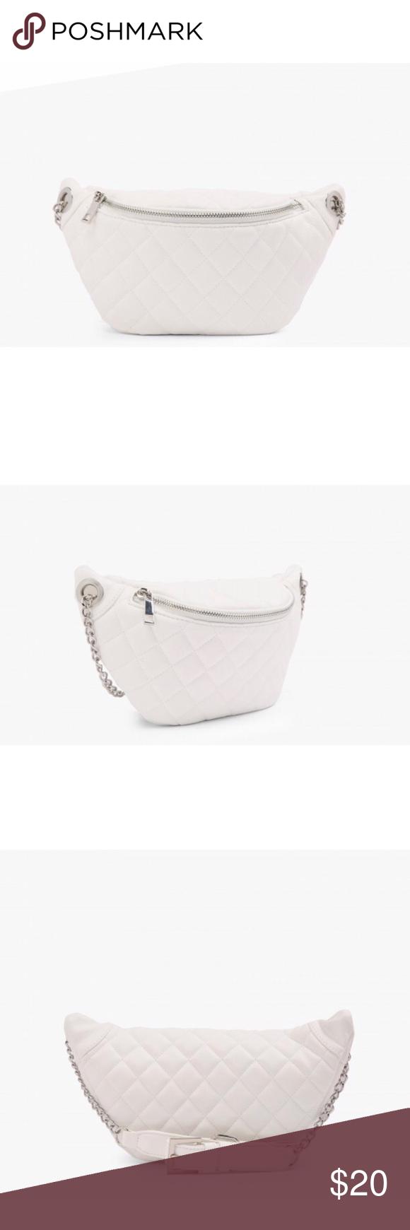 Forever 21 White Quilted Belt Bag Belt bag, White faux