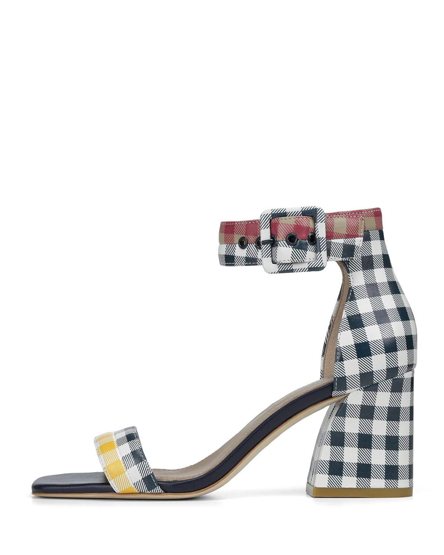 2a3b78e3e24 Donald J Pliner Watson Multi-Gingham Block-Heel Sandals