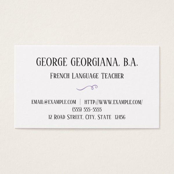Simple & Basic French Teacher Business Card | Zazzle com | Custom
