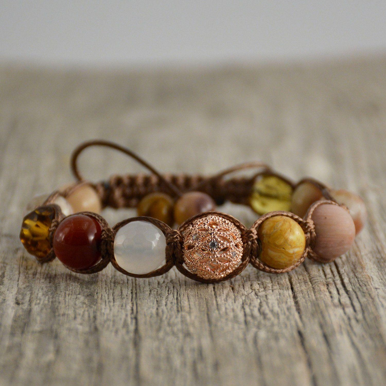 Golden shamballa bracelet. Mixed beads jewelry. Earthy colors. Sunrise bracelet…