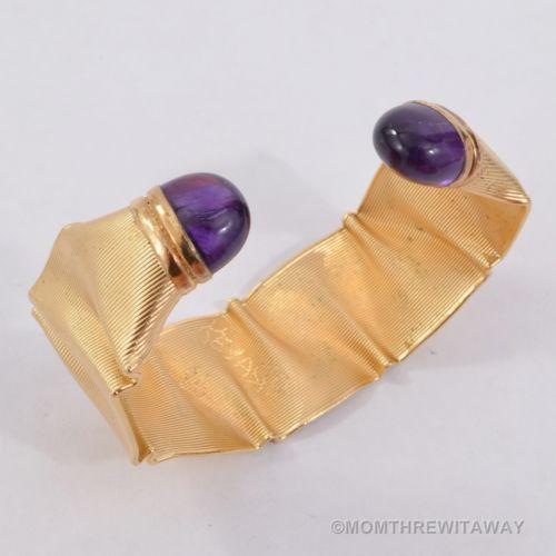 Divine 14k Gold Wide Mod Cuff Electroform Signed Bracelet 27 4 Gram Amethyst | eBay