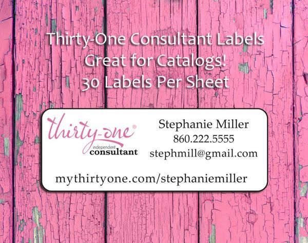 Personalized THIRTY-ONE Consultant CATALOG/Address LABELS, 30 Return Address Labels per sheet