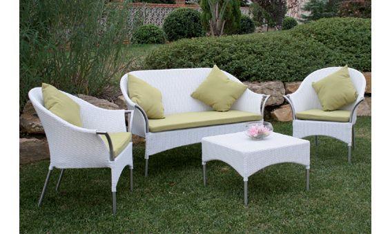 Mobiliario De Jardin De Majestic Garden Con Efecto Rattan Color Blanco Outdoor Furniture Outdoor Sofa Furniture