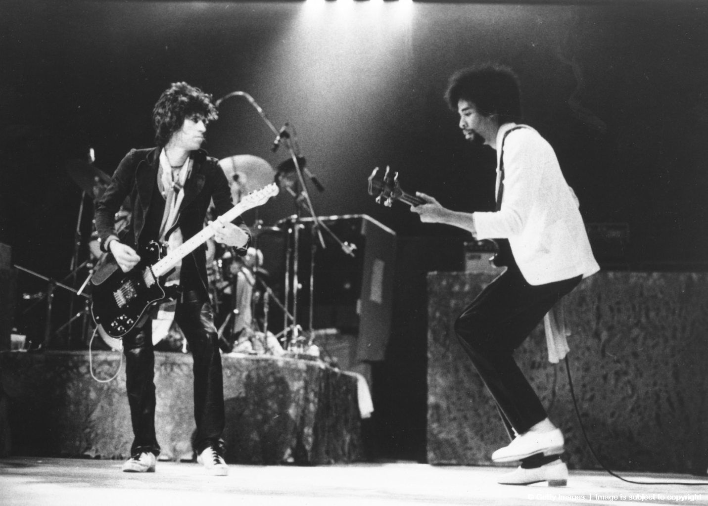 Keith Richards and Stanley Clarke of the New Barbarians