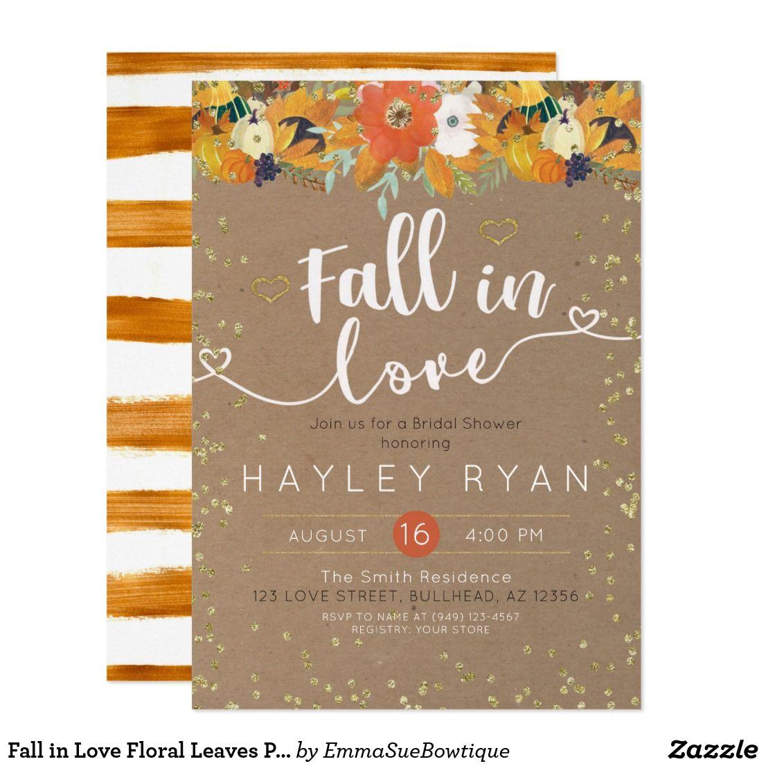 Fall in Love Floral Leaves Pumpkin Bridal shower ...