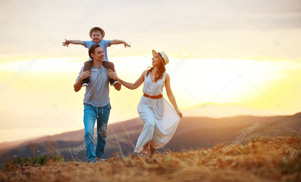Happy Family Father Of Mother And Child Son On Nature At Sunset Stock Ad Father Mother Happy Family Ad Mother And Child Happy Family Mother