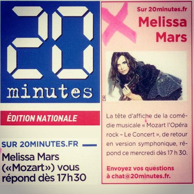 ~Qui a son nom sur la couv' du quotidien national 20 minutes?? Parce qu'on va chatter en live aujourd'hui à 17h30 sur le site www.20minutes.fr Vous pouvez déjà envoyer vos questions à chat@20minutes.fr À tout à l'heure? ;) ~My name on the cover page of the national newspaper 20 minutes to announce our live chat today at 5.30pm - Paris Time. You can send Your questions French or English to chat@20minutes.fr #newspaper #journal #20minutes #chat #melissamars #mozartoperarock