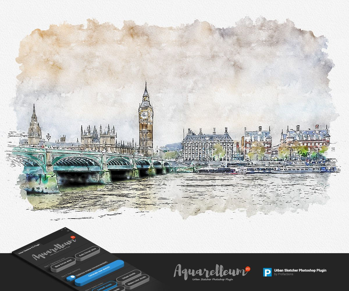 Ad Urban Sketch Aquarelleum Photoshop Plugin Graphicriver