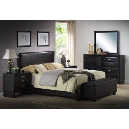 Ireland Queen Faux Leather Bed Black, Ireland Queen Faux Leather Bed Black