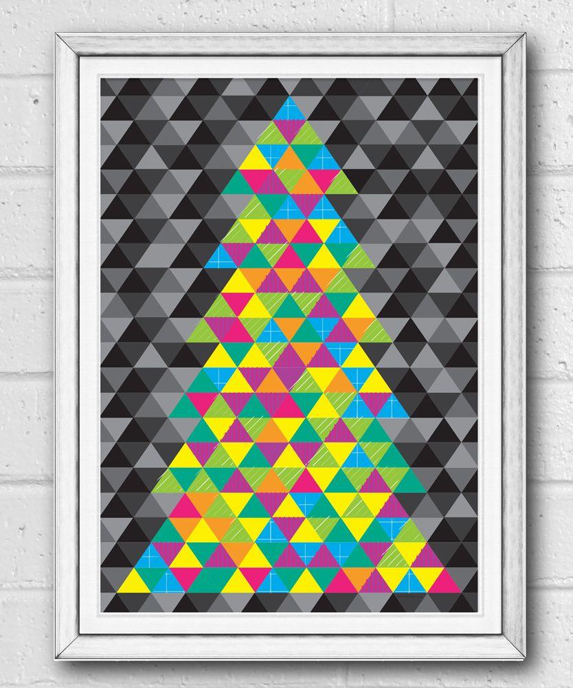 Geometric neon christmas tree print sam osborne