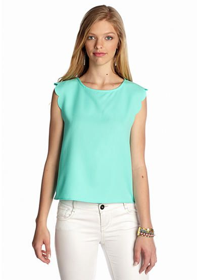 Everly Solid Scallop Trim Top