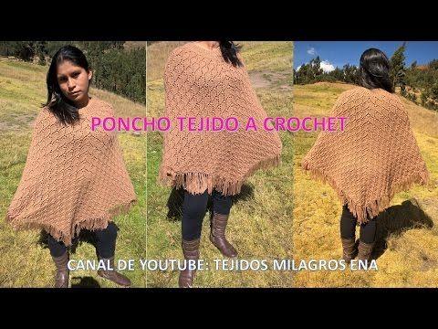 Poncho Abrigador en punto hojitas tejido a crochet - TEJIDOS MILAGROS ENA…