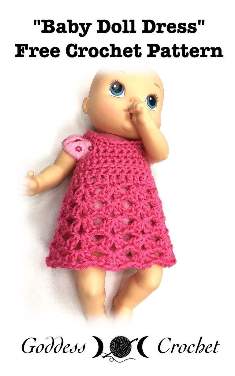 Baby Doll Dress - Free Crochet Pattern #dolldresspatterns Baby Doll Dress - Free Crochet Pattern #dolldresspatterns