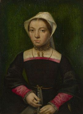 Attributed to Catharina van Hemessen: 'A Lady with a Rosary' 1550 National Gallery