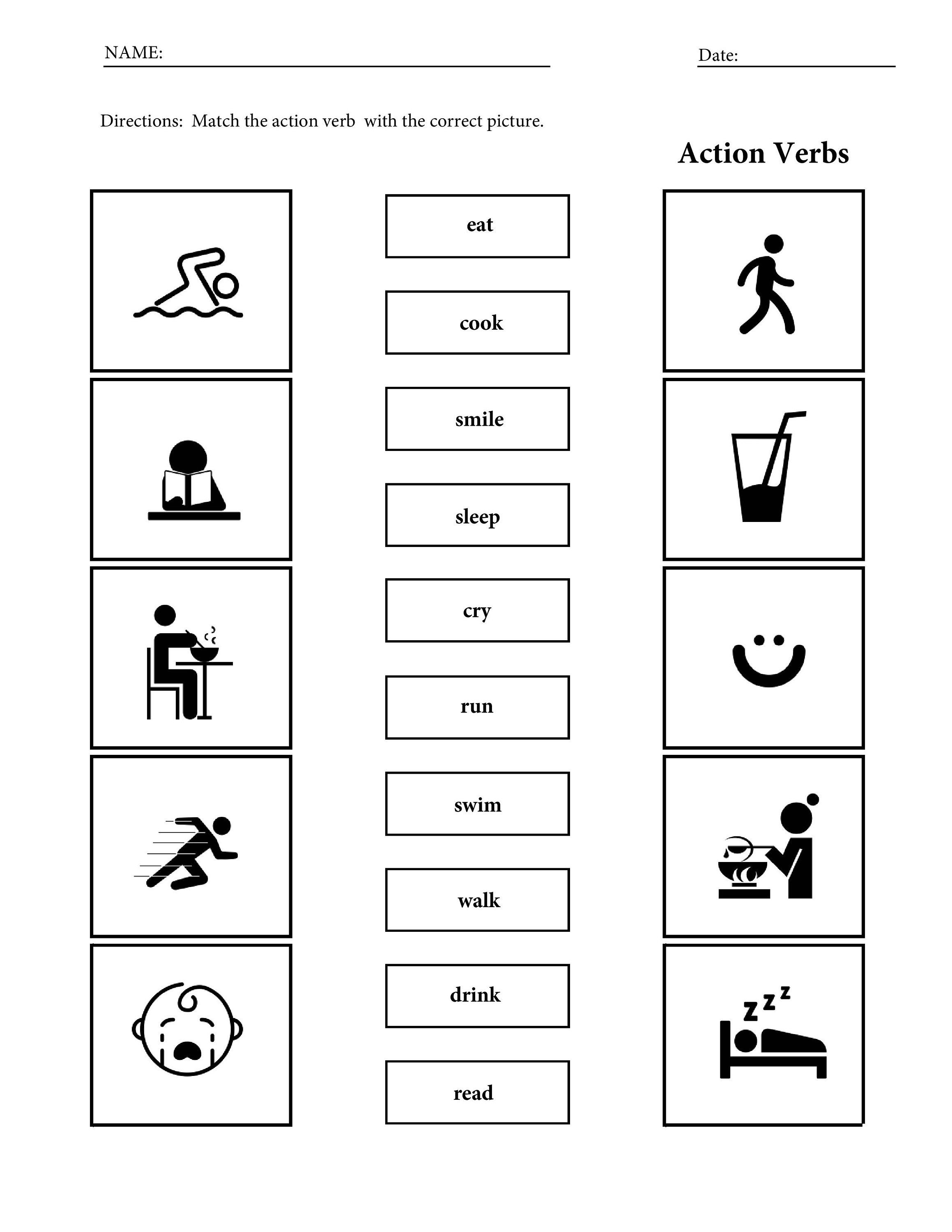 Printable Action Verbs Vocabulary Worksheets For Children
