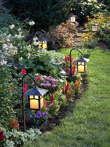 Tips for a Well-Lit Landscape Ditch the Dimmers  If an incandescent light is dimmed, it becomes amber and casts a sickly pall on green plants. Instead, use a daylight -- a blue color-correcting filter on outdoor lights -- which eliminates the yellow tones.