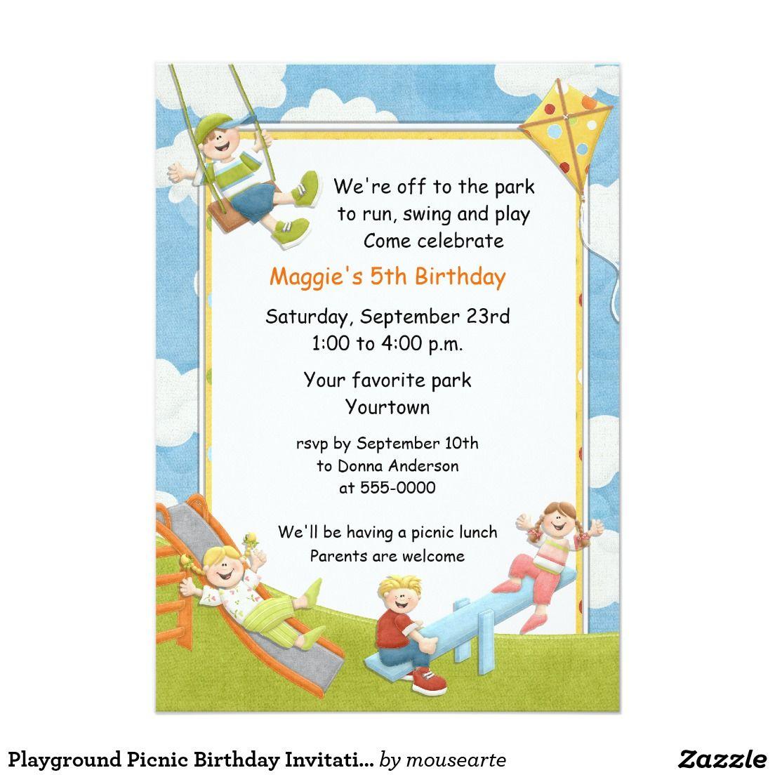Playground picnic birthday invitation invitations pinterest playground picnic birthday invitation filmwisefo