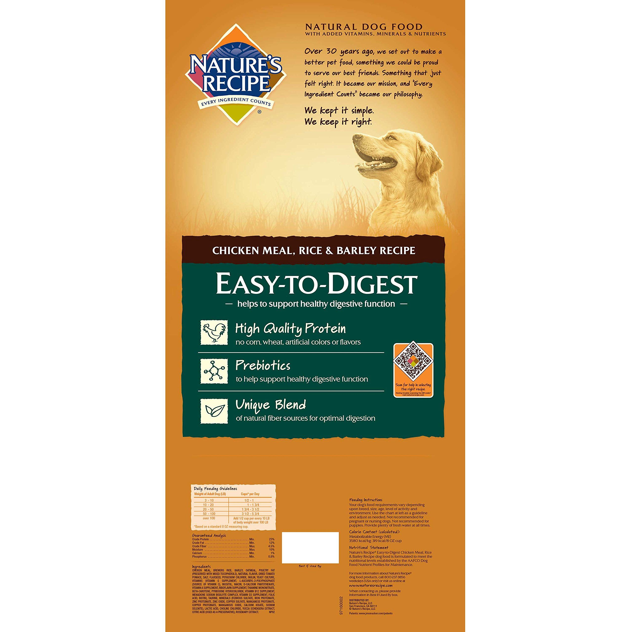 Natures Recipe Easy To Digest Dry Dog Food Chicken Meal Rice And