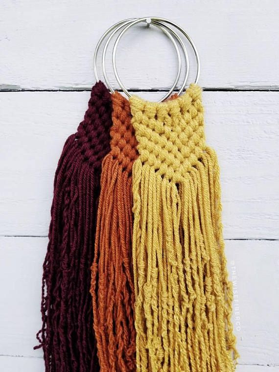 Mini Macrame Wall Hanging Fall Decor Maroon Pumpkin With Images