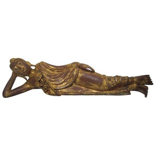 Thai Reclining Wood Figure ($195) ❤ liked on Polyvore featuring home, home decor, decorative objects, wooden home decor, wood figure, wooden figure, wooden figurines and thai home decor