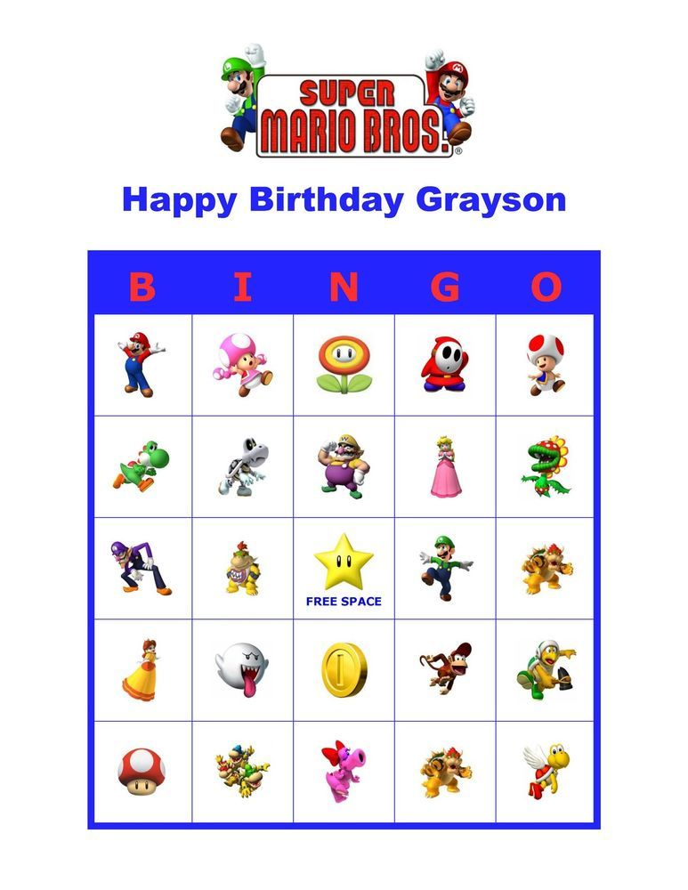 Super Mario Bros Brothers Nintendo Birthday Party Game Bingo Cards