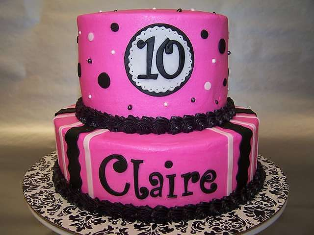 Pink 10 Year Old Girl Birthday Cake 2 Tiers 10 Birthday Cake 10th Birthday Cakes For Girls Birthday Cake Girls