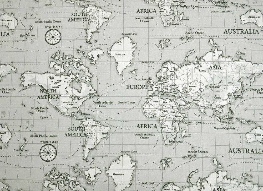 Fryetts maps grey atlas globe world map fabric curtain upholstery fryetts maps grey atlas globe world map fabric curtain upholstery quilting blind gumiabroncs Image collections