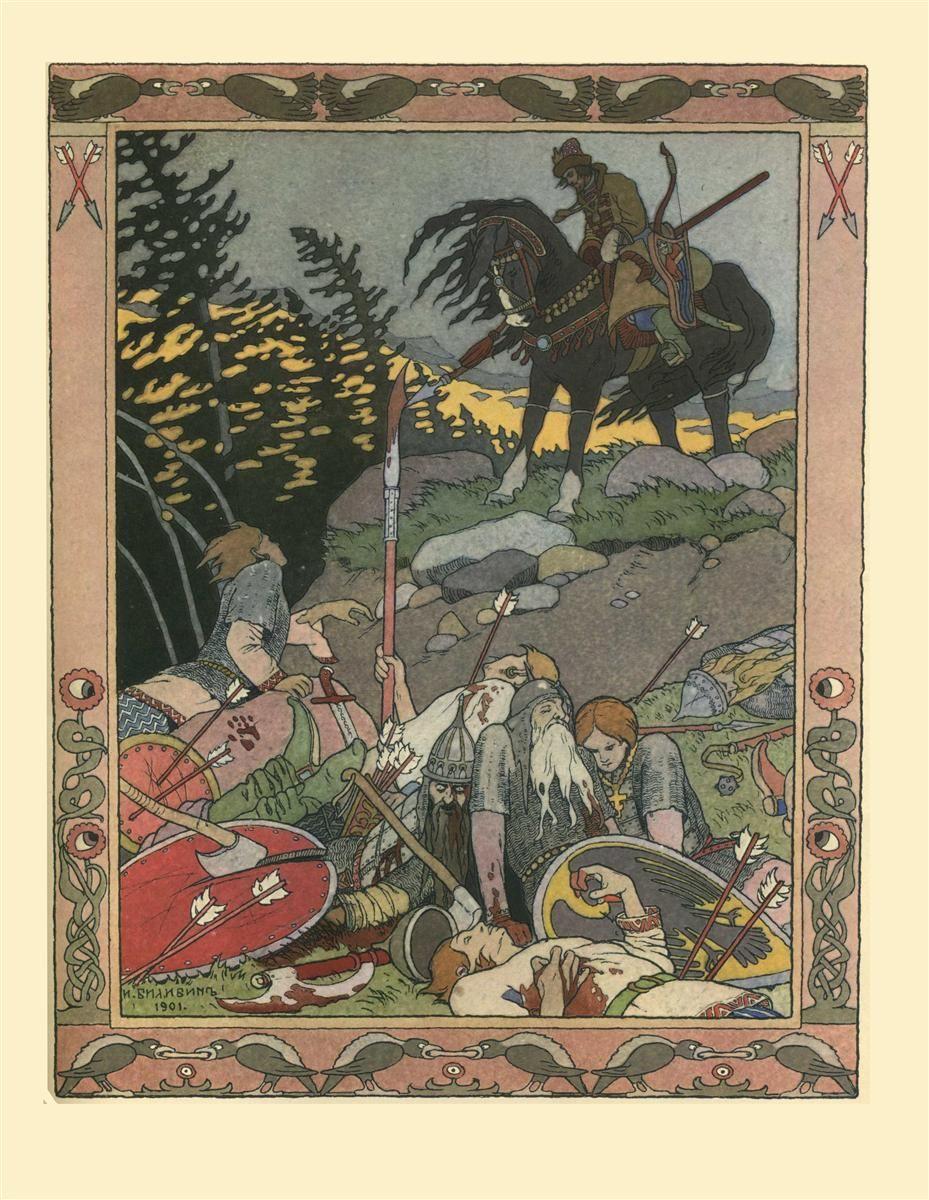 "Ivan Bilibin - Illustration for the Russian Fairy Story ""Maria Morevna"", 1900  WikiArt.org"
