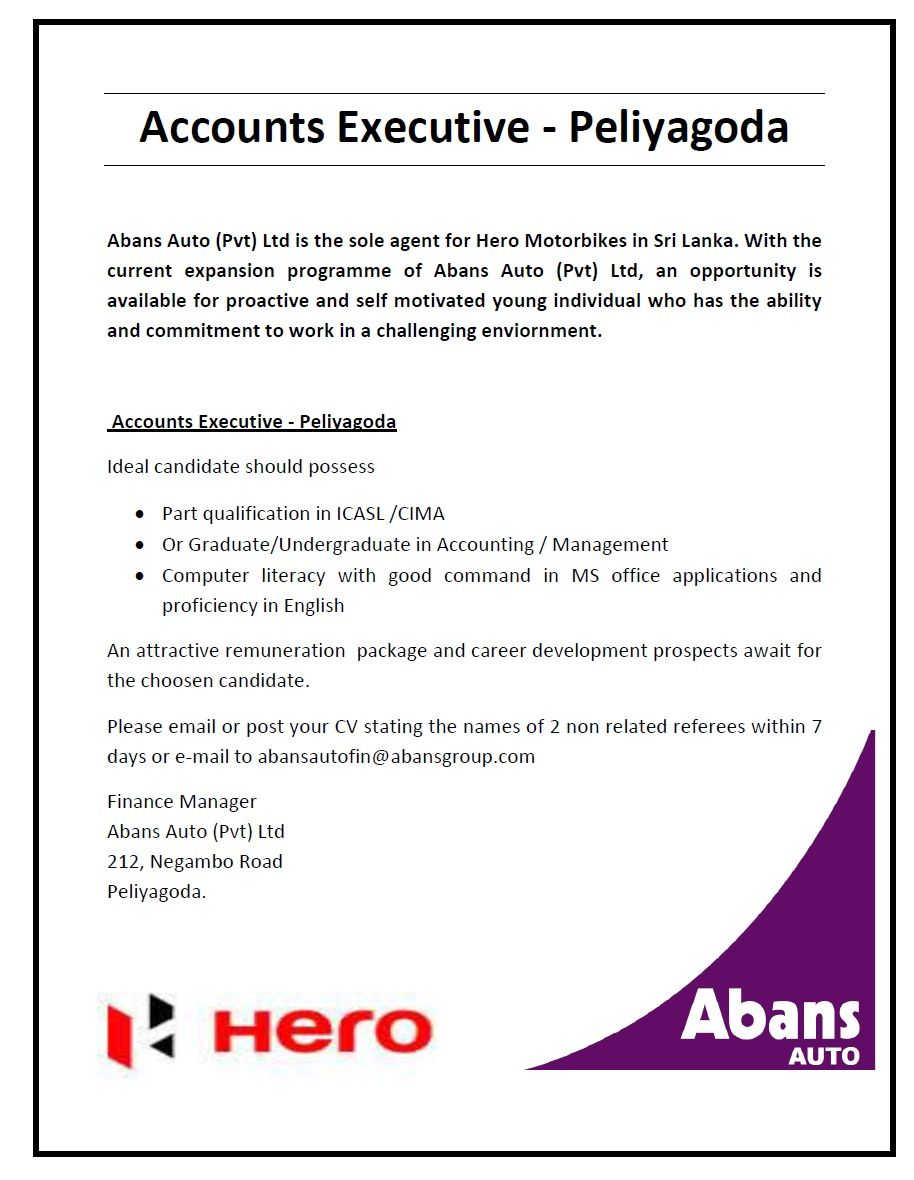 Accounts Executive At Abans Auto Pvt Ltd  Career First