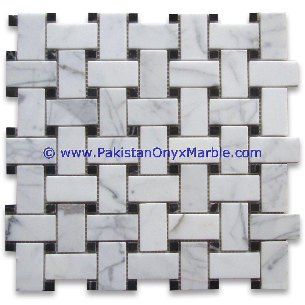Premium Grade Basketweave Ziarat White Carrara Marble Mosaic Tiles Pakistan Ziarat White Carrera Polished 1 X 2 Marble Mosaic Tiles Mosaic Tiles Marble Mosaic