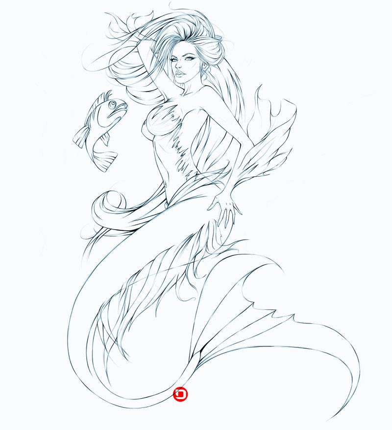 Zombie Mermaid Coloring Pages